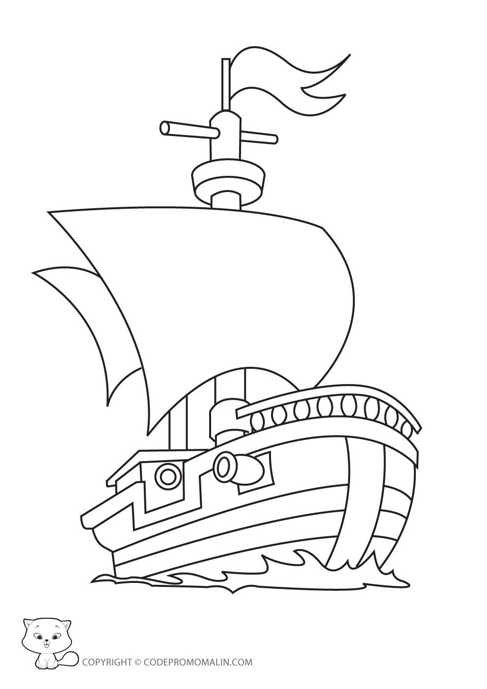 Coloriage dessiner bateau ulysse - Dessin de bateau facile ...
