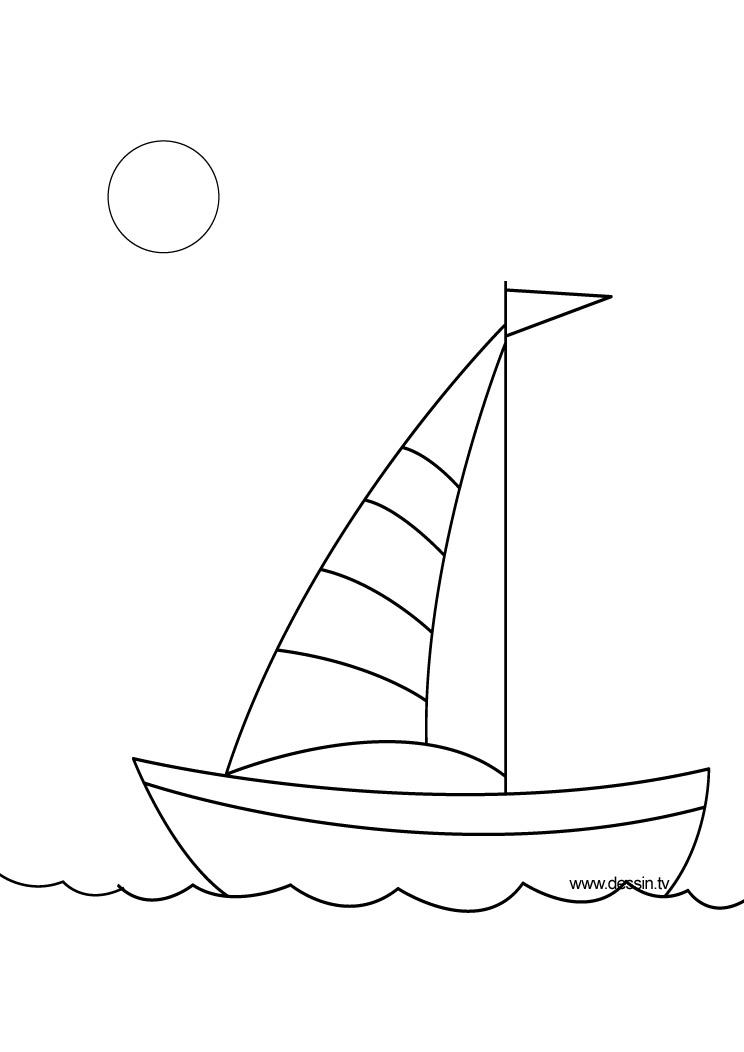 dessin à colorier bateau de plaisance