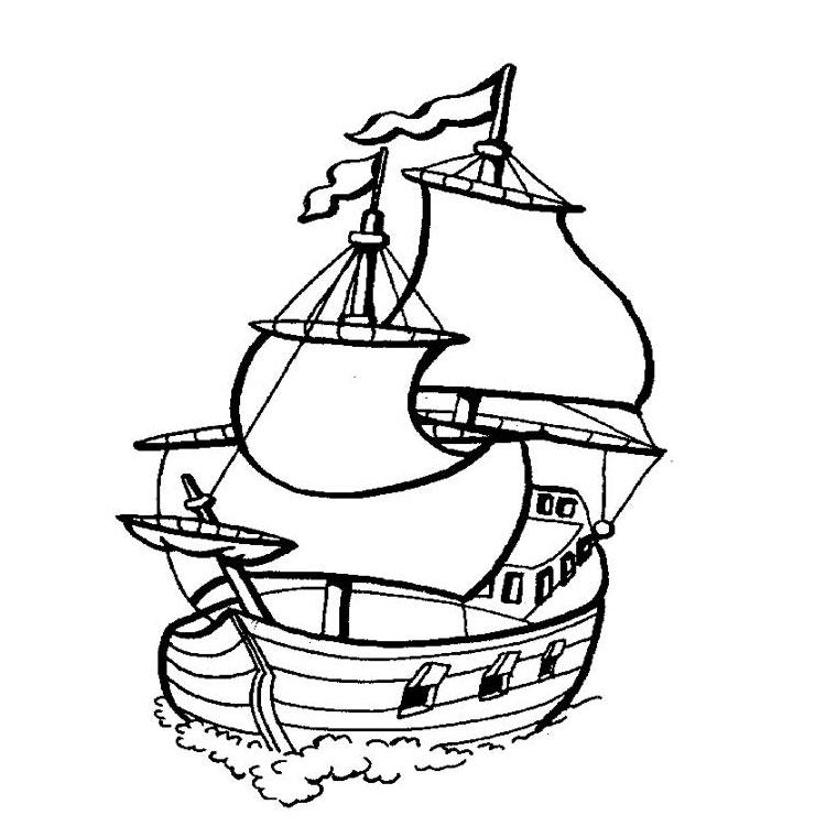 dessin à colorier bateau de viking