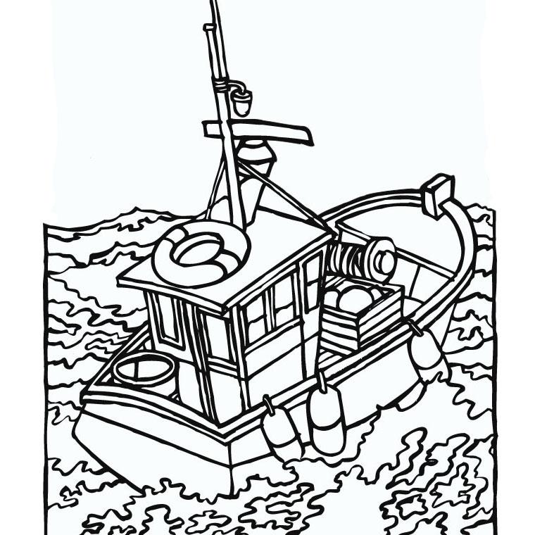 coloriage à dessiner bateau du capitaine crochet