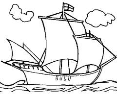 dessin à colorier bateau grand format