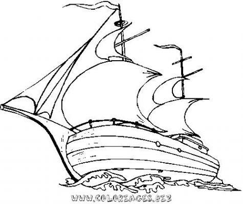 dessin d'un bateau sur la mer