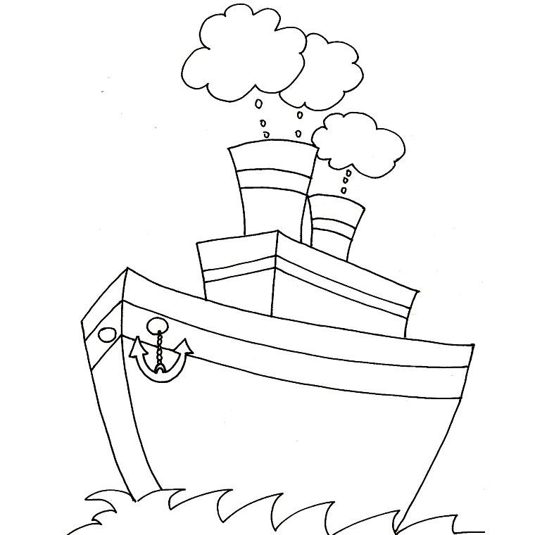 dessin à colorier bateau facile
