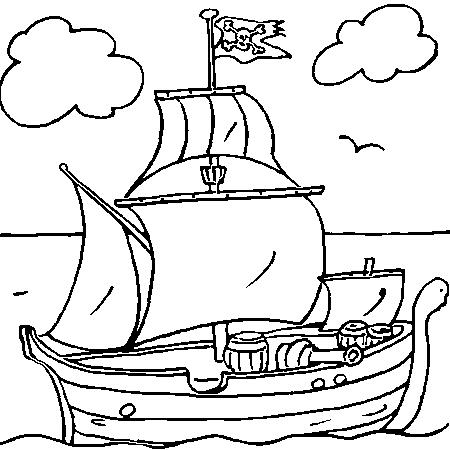 coloriage à dessiner bateau peche
