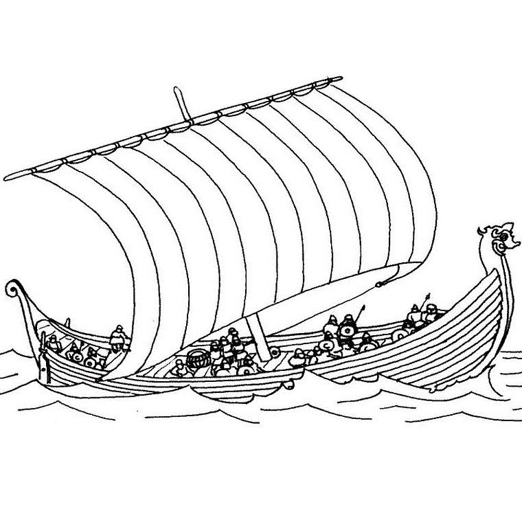 dessin à colorier bateau trois mats