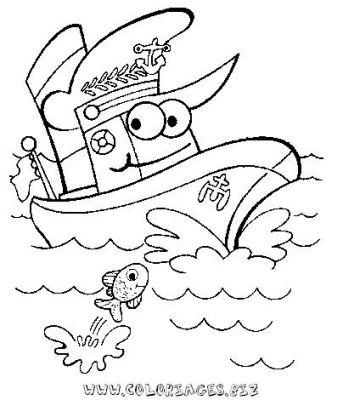 dessin à colorier bateau imprimer gratuit