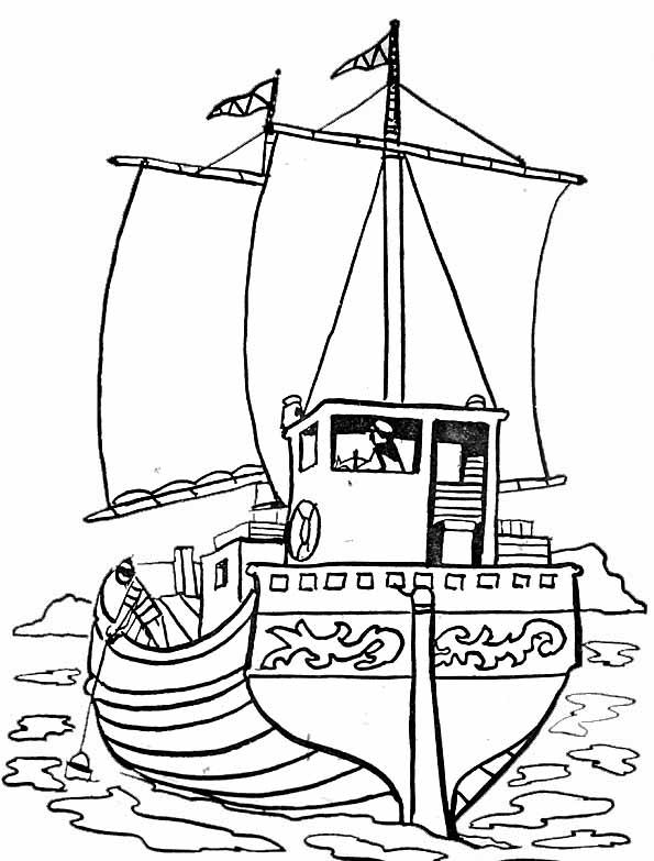 coloriage bateau a moteur imprimer