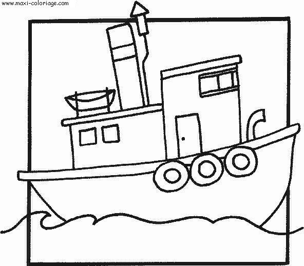 dessin à colorier bateau croisiere