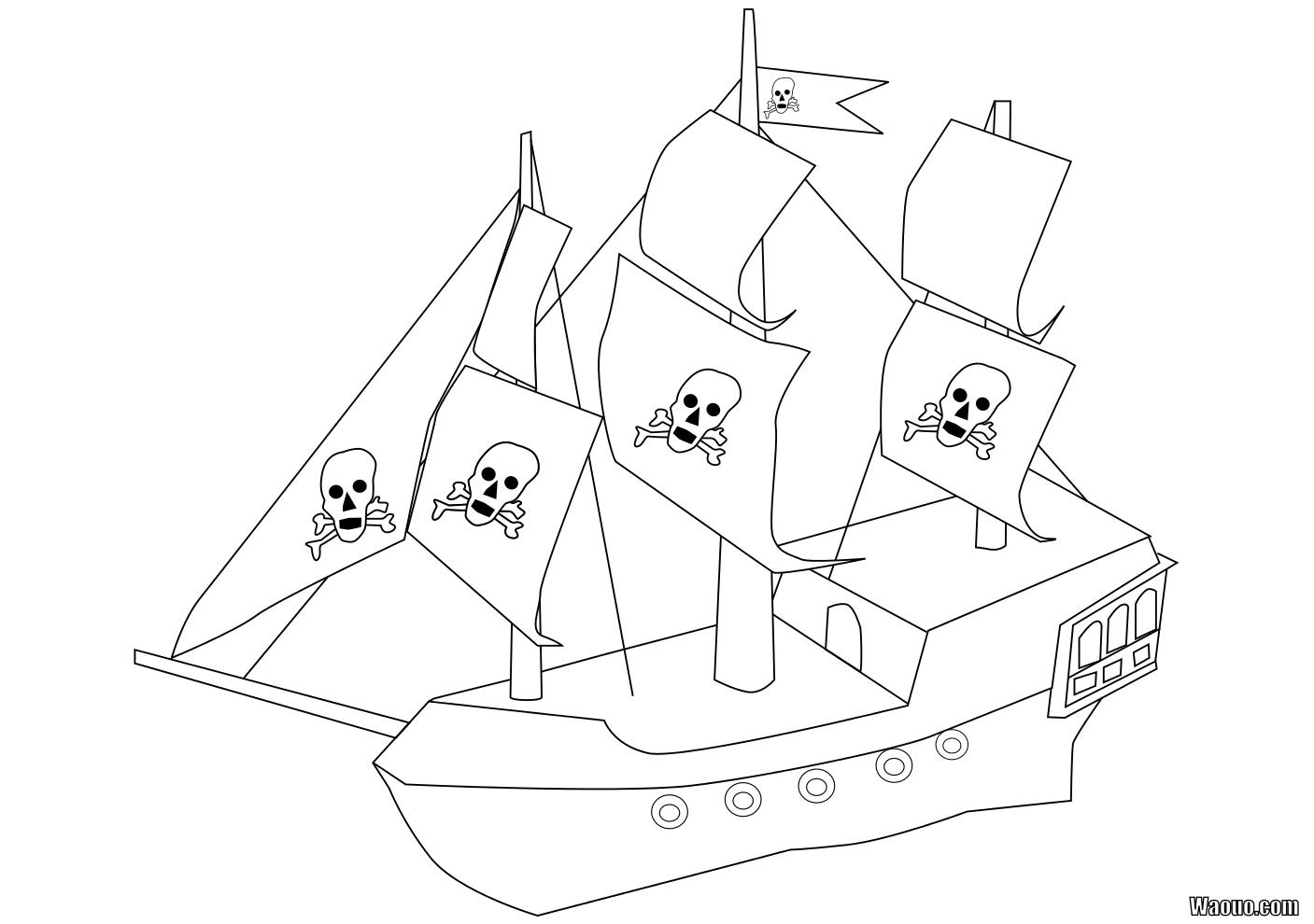 coloriage à dessiner bateau 3 mats