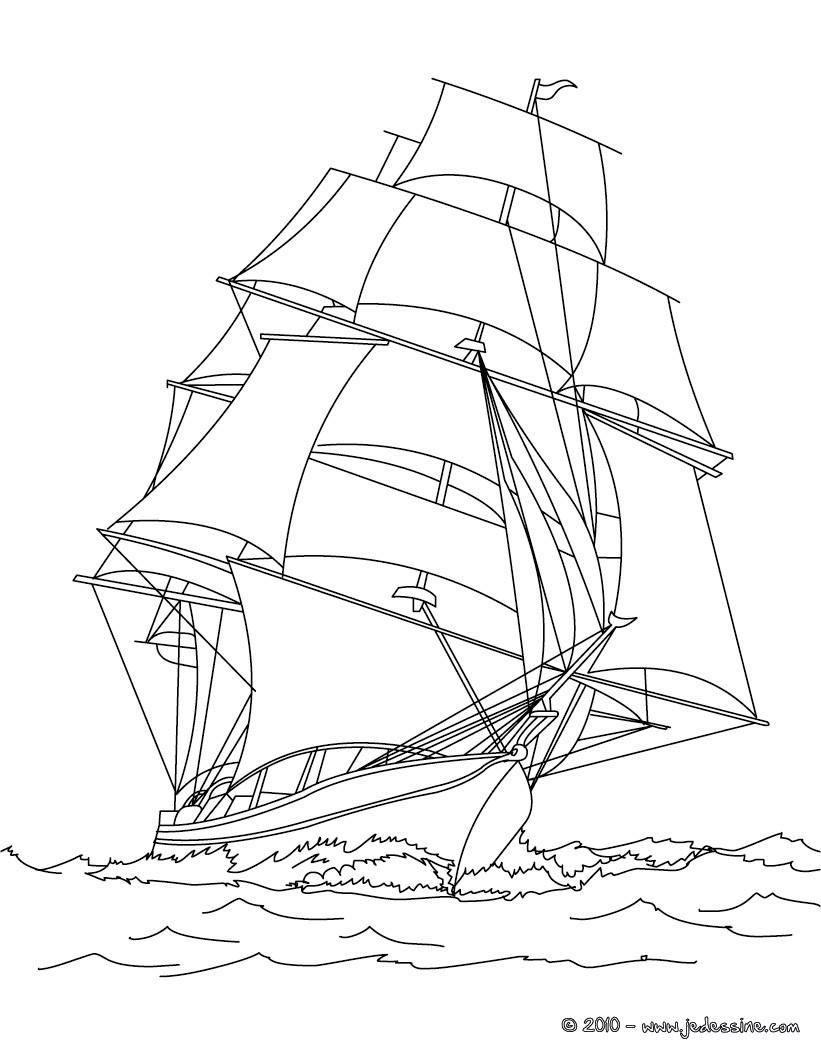 coloriage à dessiner bateau à imprimer gratuit