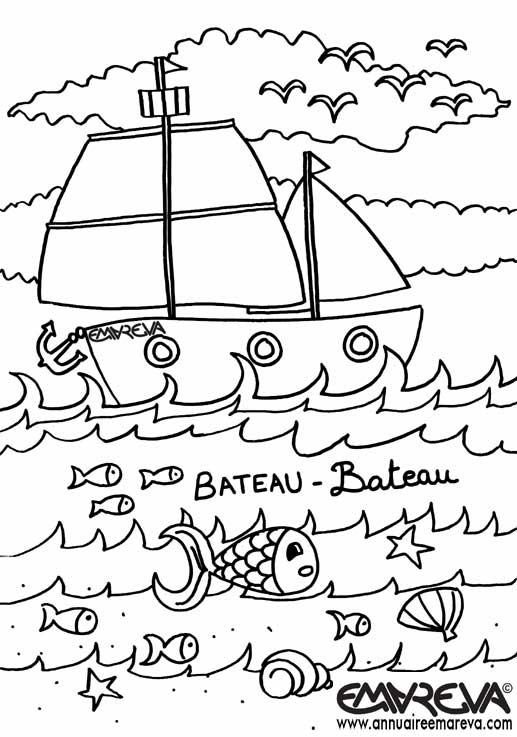coloriage à dessiner bateau de peche