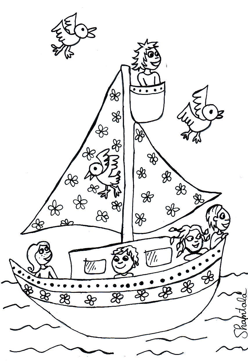 coloriage à dessiner bateau à moteur