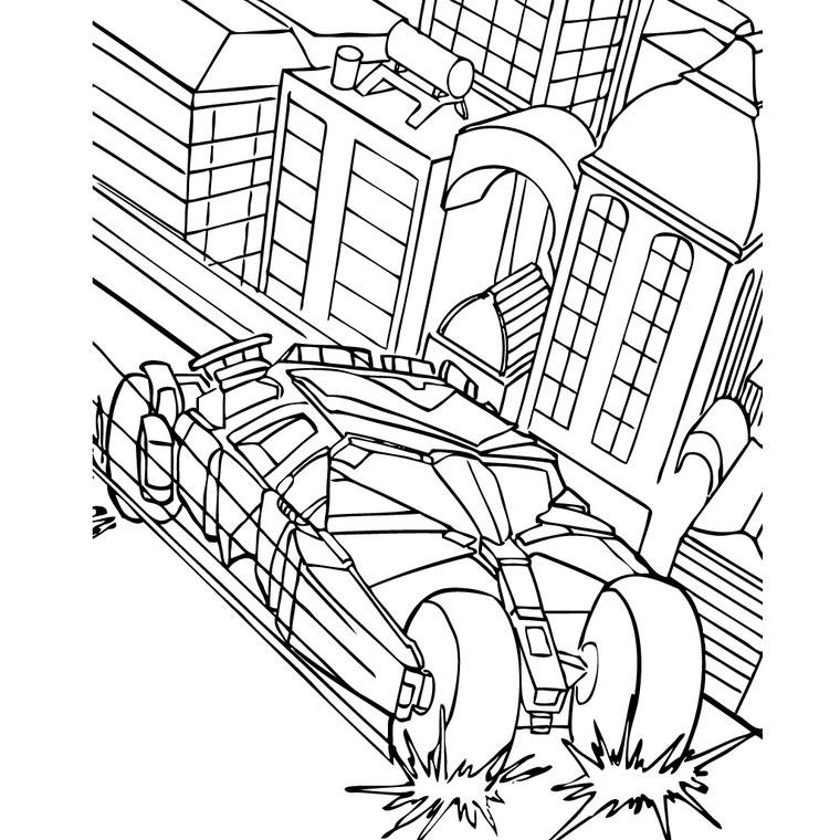 coloriage à dessiner batman moto