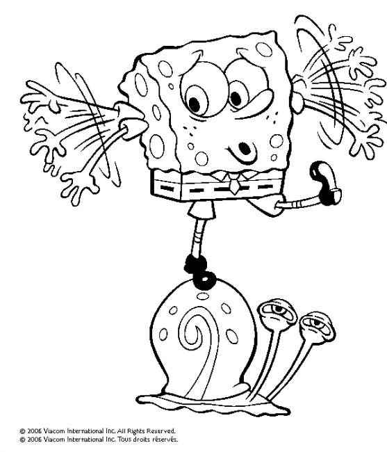 bob l'éponge et gary dessin à colorier
