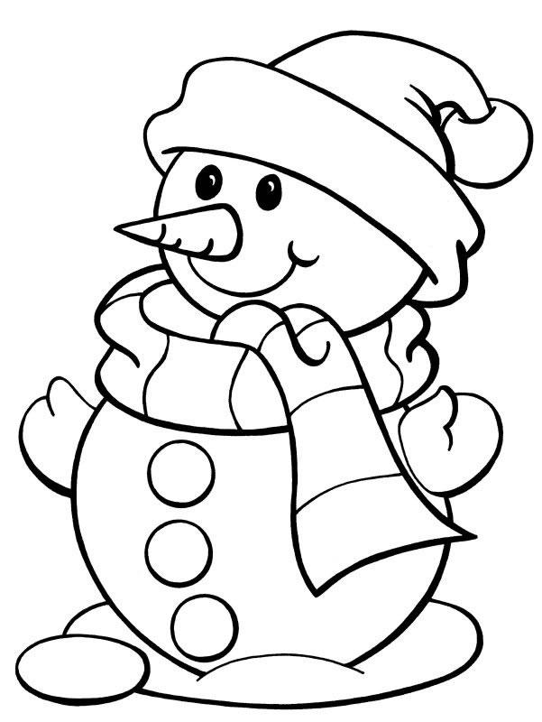 coloriage sapin et bonhomme de neige