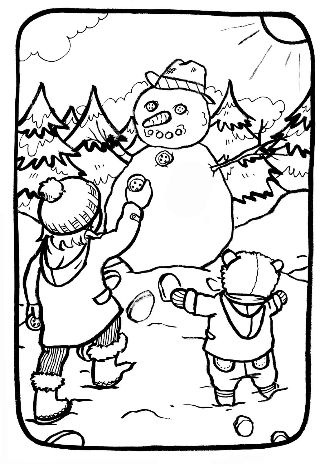 coloriage à dessiner bonhomme de neige maternelle