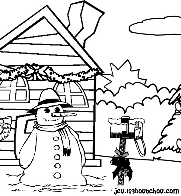 bonhomme de neige a colorier