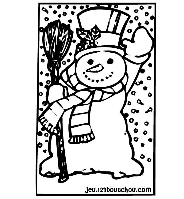 dessin à colorier bonhomme de neige maternelle