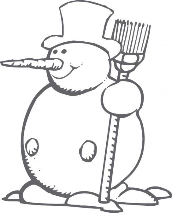 dessin à colorier bonhomme de neige rigolo