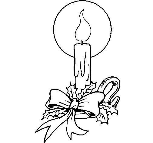 coloriage à dessiner bougie noel gratuit
