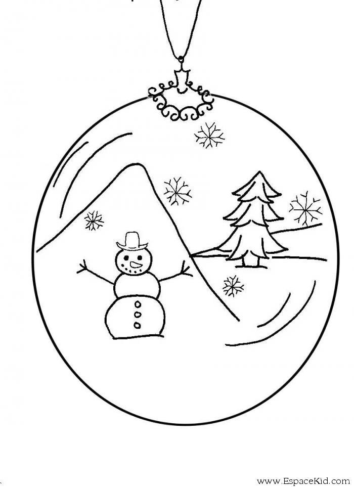 dessin à colorier de boule de noel