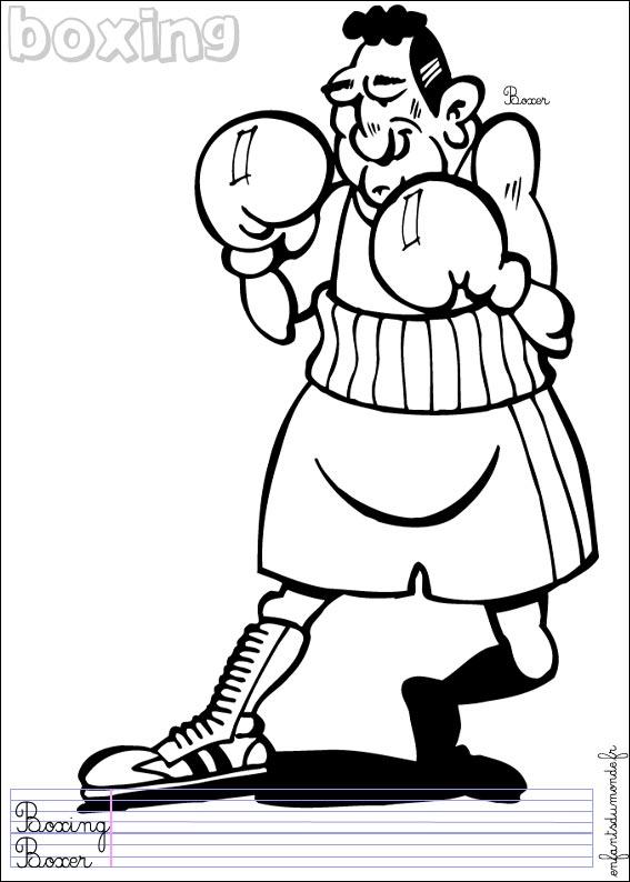 dessin à colorier de boxe