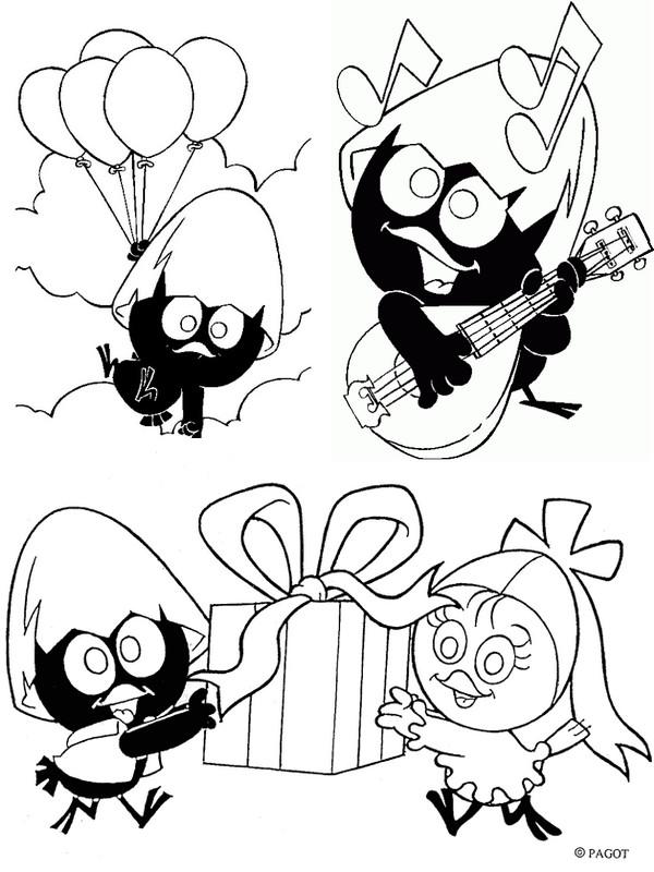 coloriage à dessiner calimero anniversaire