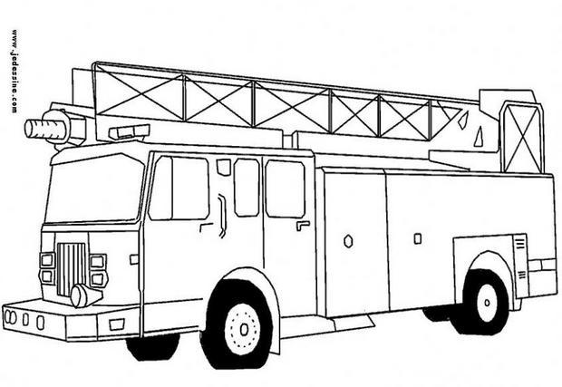 dessin à colorier camion pompier lego