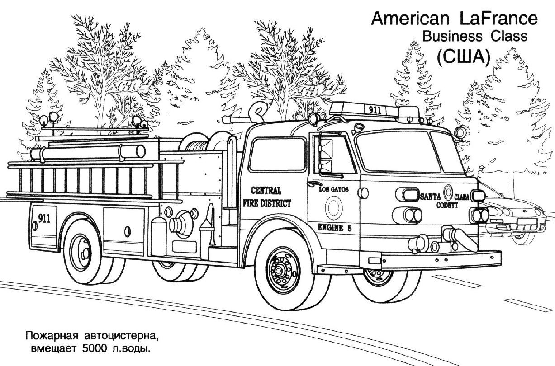 jeu dessin à colorier camion pompier