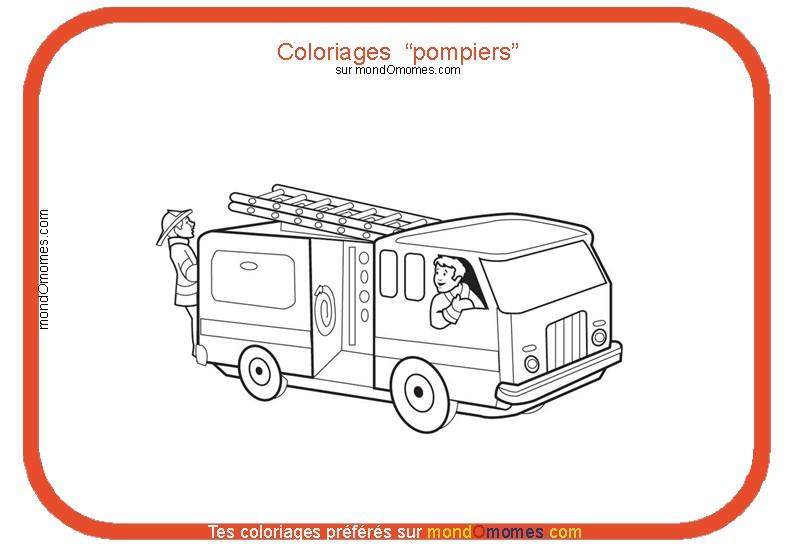 Image camion pompier dessin - Coloriages pompiers ...
