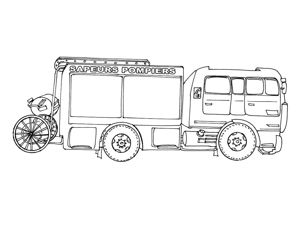 Coloriage dessiner camion pompier gratuit - Dessiner un camion de pompier ...