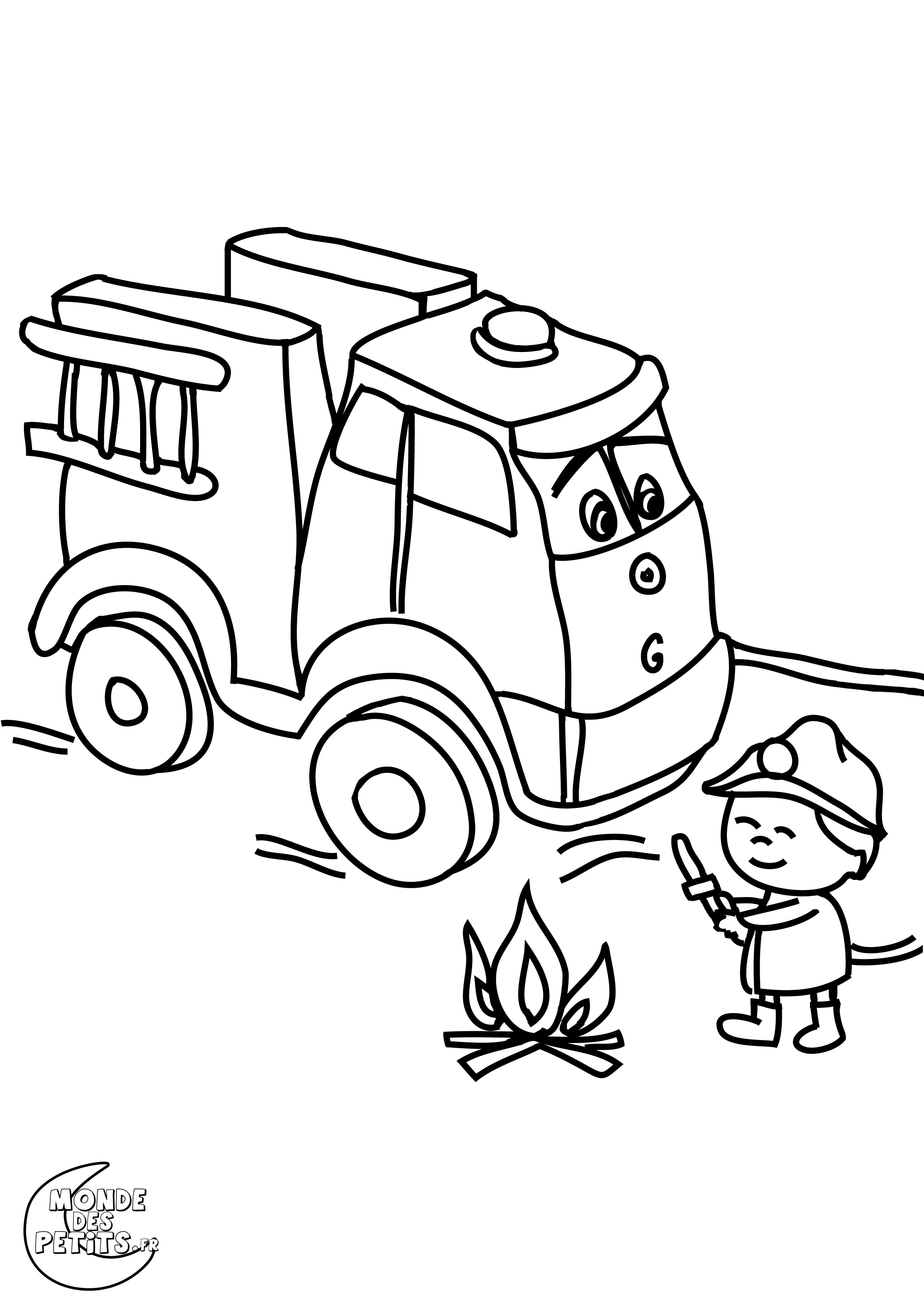 dessin à colorier camion pompier sam