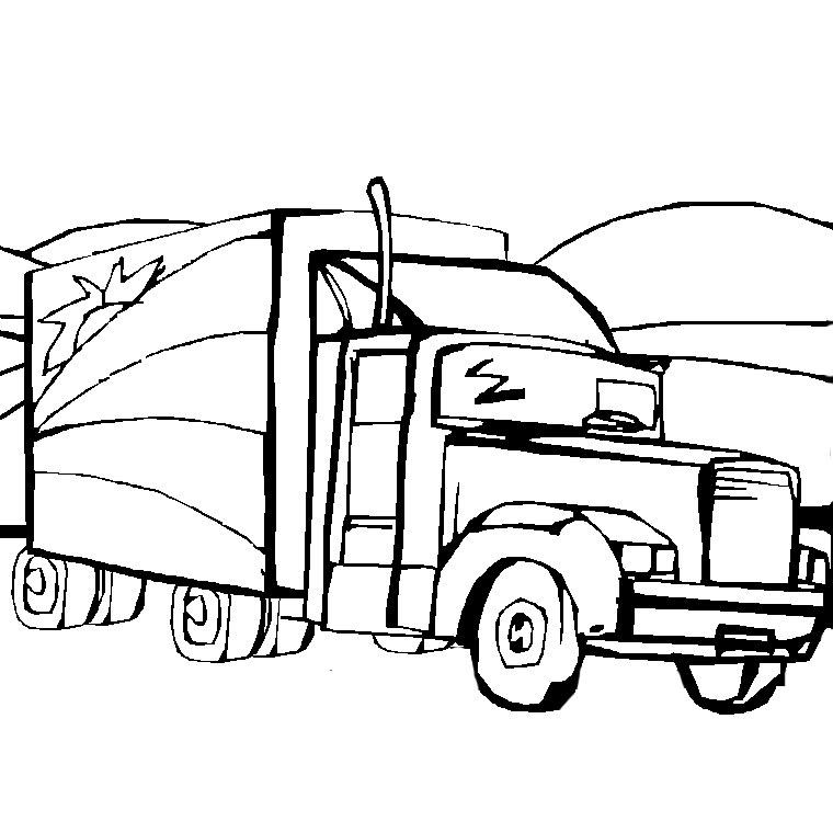 coloriage à dessiner camion grue