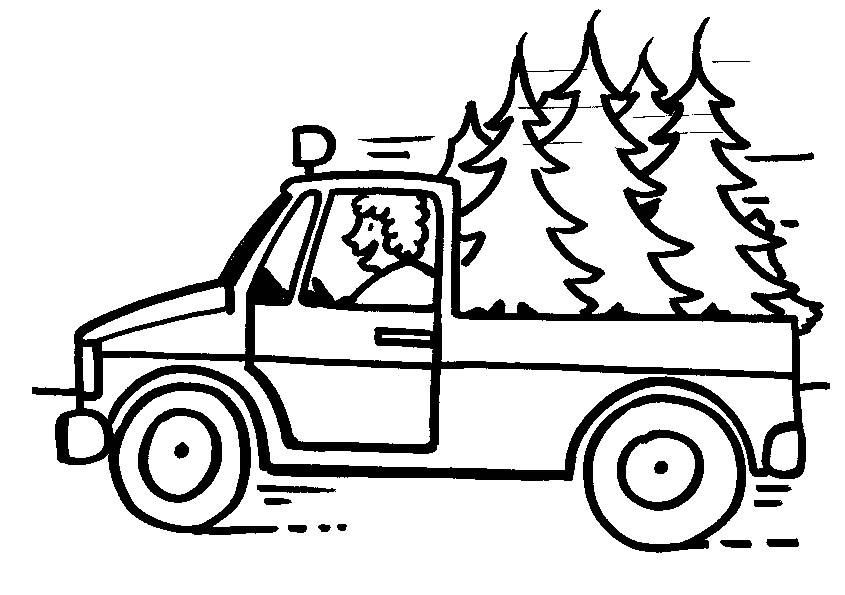 dessin à colorier camion transport bois