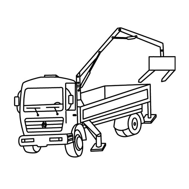 dessin à colorier camion grue à imprimer