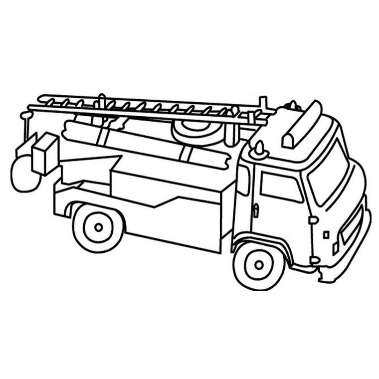 Colorier un camion de pompier - Coloriage de camion de pompier ...