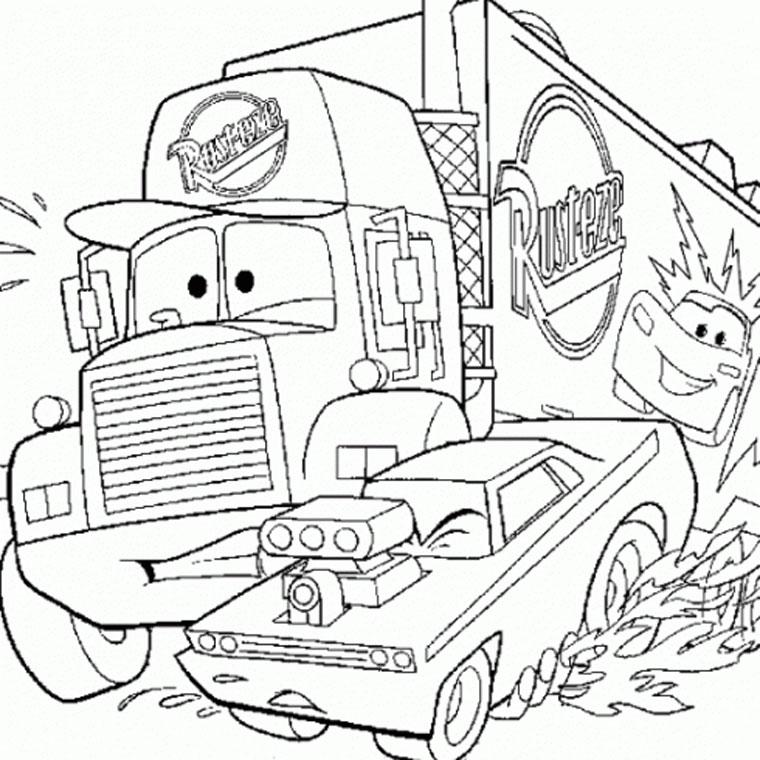 dessin à colorier camion travaux imprimer