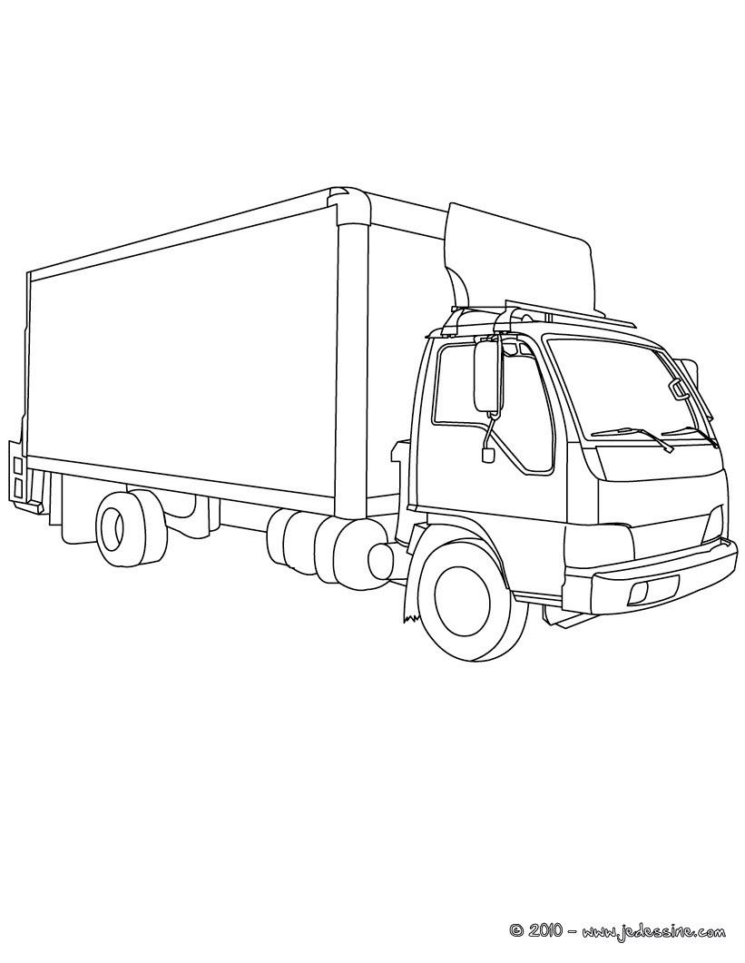 dessin à colorier camion de bois