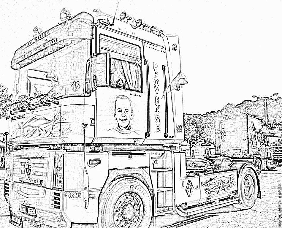 Coloriage dessiner camion de depannage - Dessin de camion americain ...