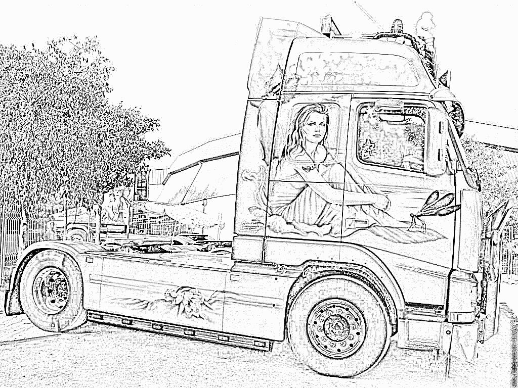 coloriage à dessiner camion remorque imprimer