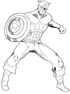 coloriage à dessiner imprimer capitaine america