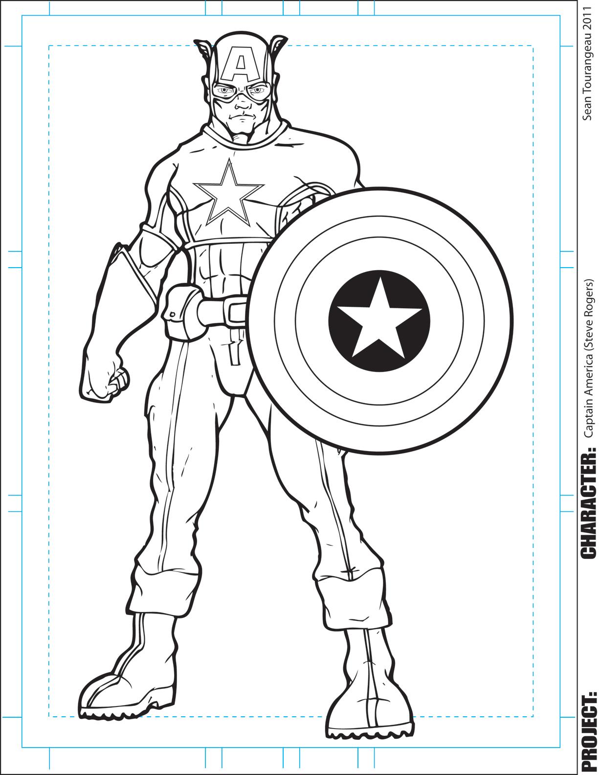captain america en dessin à colorier