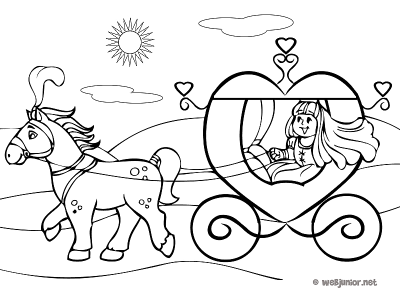 coloriage princesse avec carrosse