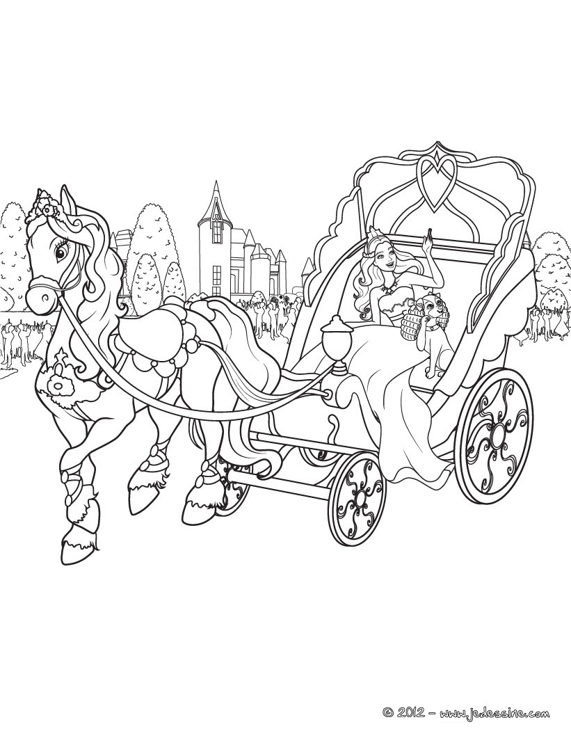 Coloriage cendrillon dans son carrosse - Cendrillon et son carrosse ...