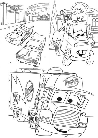 dessin à colorier cars dessin animé