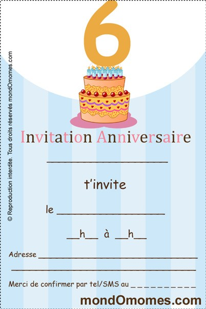 Extrêmement 14 dessins de coloriage Carte Invitation Anniversaire à imprimer PP67