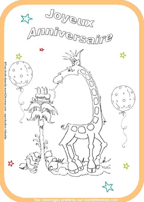 14 dessins de coloriage Carte Invitation Anniversaire à imprimer