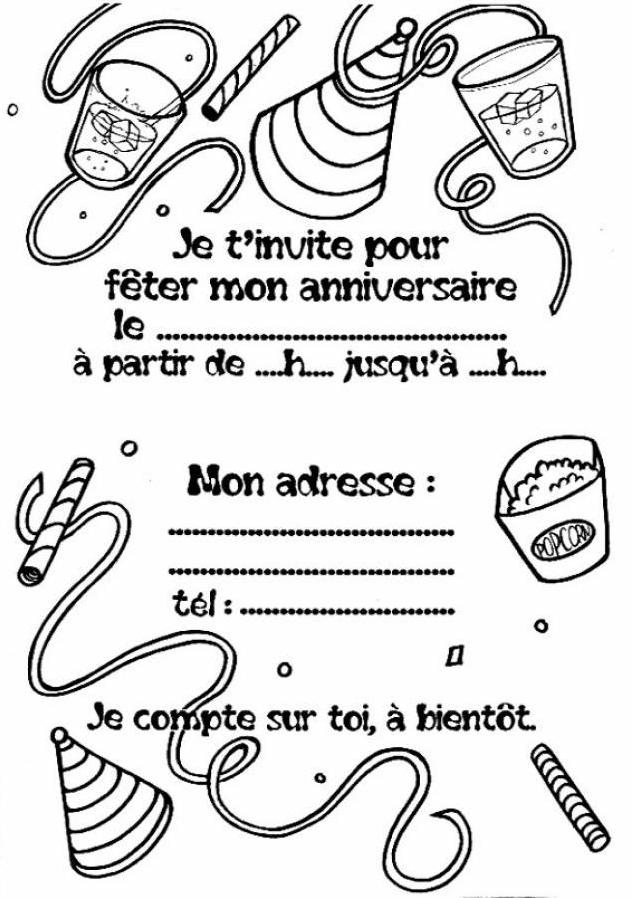 14 dessins de coloriage carte invitation anniversaire imprimer - Carte anniversaire coloriage ...