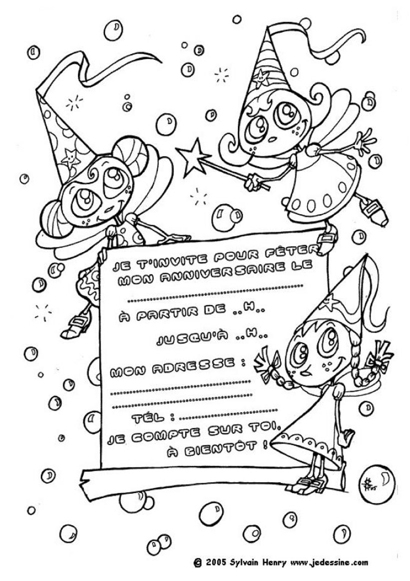 Coloriage Carte Invitation Anniversaire