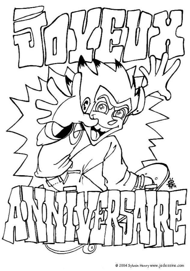 coloriage à dessiner cartes d'invitation pour anniversaire